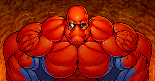 Getting bigger project illustrated with a kind of big muscles man